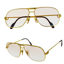 Auth Must de Cartier Trinity Vendome Glasses Eye Wear Metal Gold France 31V1075
