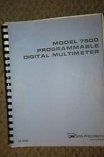 DATA PRECISION  7500DMM: Programmable Digital Multimeter   MANUAL & SCHEMATICS