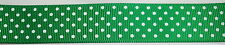 "3 yrds 7/8"" WHITE dots EMERALD GREEN grosgrain new RIBBON craft BOW scrapbooking"