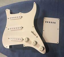 Loaded 1999 Fender Squier Affinity Pickguard & Backplate  - White Vintage SSS