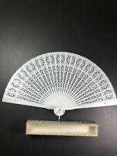 Vintage 1950's Celluloid Hand Fan Hong Kong In Box White Signed From Sissy 12.75
