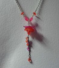 rose fushia pendentif fleur collier à perles long Mat Argent pl ORANGE FESTIVAL