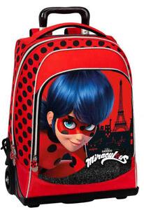 Trolley e zaino Miraculous Ata qualità bambina rosso e nero con glitter