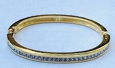Vintage Swarovski Swan Signed Crystal Rhinestone Hinged Bangle Bracelet Goldtone