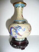 vase chinois décor de dragon en émaux cloisonné 12,5 cm + socle