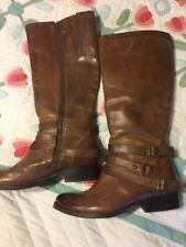 FREEBIRD Irish leather boots, strappy, tall, cognac color, distressed, size 10