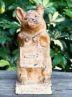"VTG JMR Thrifty The Wise Pig Cast Iron Bank 6 ½"" Original Paint! Nice! 183"