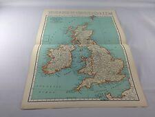 Vintage 1934 Rand McNally Map ~ The British Isles ~ Full Color ~ Ships FREE!