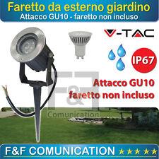 FARETTO GIARDINO ESTERNO IP67 ATTACCO GU10 ALLUMINIO VETRO LED RESISTENTE VTAC