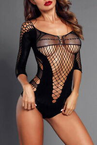 *NEW* BLACK QUARTER SLEEVE OFF SHOULDER HOLLOW-OUT MESH TEDDY *ONE SIZE*