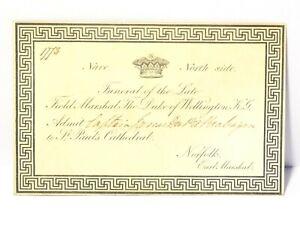 1852 Duke of Wellington Funeral Invitation Card to Capt. James Du Pre Brabazon