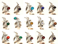 20PCS Wholesale Lot Chalcedony Mix Gemstone 925 Silver Plated Rings Jewelry