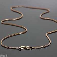Gorgeous Solid Au750 18K Rose Gold Chain Women Box Link Necklace 16inch