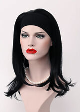 Jet Black Long Straight Anti-Alice Women 3/4 half wig headband Natural Daily WIG