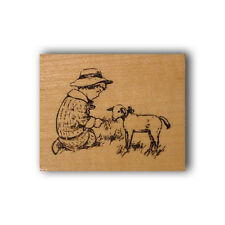 Child and Lamb mounted rubber stamp vintage style children, barnyard farm CMS #6
