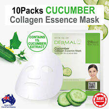 10x DERMAL Cucumber Collagen Essence Facial Face Mask Sheet Skin Pack Korea