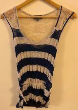 G/C Apricot Blue/Beige Crochet/Mesh Top with Belt & Peplum Effect Waist Size XS