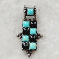 Vintage Mexico 925 Silver Turquoise Black Onyx Checkered Squares Mod Pendant