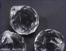 15PCS/Lot 30MM clair/acrylique transparent à facettes ronde pendentif boule cristal