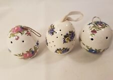 Vintage Round and Oval Pomanders Lot of three, Blue Floral  LOT 6