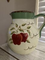 Home Interior Handpainted Earthenware Apple Orchard Pitcher