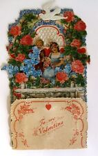 1920s Pull Down Pop Out Valentine's Day Card Boy and Girl in Flower Garden