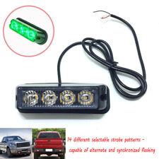 USA 4 LED Green Grille Strobe Lights Side Marker Flash Emergency Warning 12V