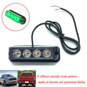 USA 4 LED Green Grille Strobe Lights Side Marker Flash Emergency Warning 12V
