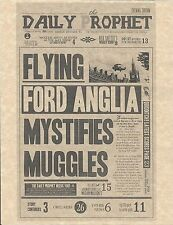 Harry Potter Daily Prophet Flying Ford Anglia Mystifies Muggles Prop/Replica