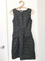 CUE Size 8 Black Lace Overlay Sleeveless Zip Back Knee Length Formal Work Dress