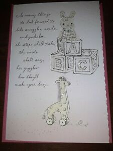 Hallmark NEW Baby Girl Card  Giraffe Bunny Blocks W Envelope