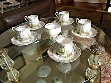 Old Ivory Bone China Cup and Saucer (5 sets) with Suger Cup