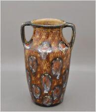 Antike Vase - Jugendstil Zweihenkelvase mit Pfauenaugen-Dekor - wohl Bunzlau
