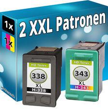 2x TINTE PATRONEN für HP 338+343 PhotoSmart 2575 2605 2610 7850 8150 C3100 C3180