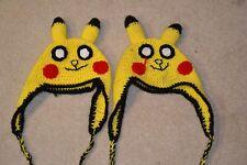 2x Handmade Knit Crochet Adult Teen Child Hat Pokemon Pikachu Hat FREE SHIPPING*