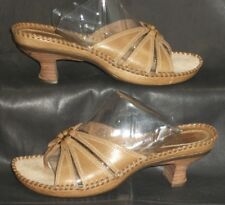 Clarks 70296 tan leather open toe thong mules sandals Women's shoes size 6 M