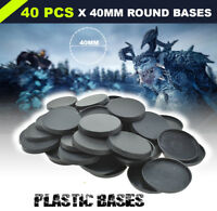 40mm - 40pcs Plastic Round Bases Wargames for Miniatures warhammer Model Bases