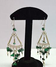 Boucles d'oreilles pierres verte  péruvienne, commerce équitable pendante