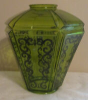 GREEN GLASS 6 SIDED ETCHED LAMP CEILING HANGING SHADE LARGE