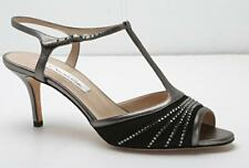 OSCAR DE LA RENTA Womens Black & Bronze Crystal T-Strap High-Heel Pump 9/39 NEW