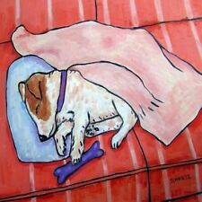 Jack Russell terrier Sleeping On Couch dog art tile coaster