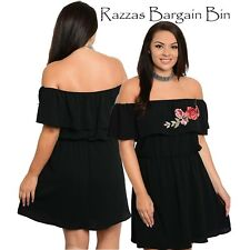 New Ladies Stunning Black Dress With Floral Design Plus Size 16/1XL (1117)PD