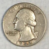 1942 Washington Quarter Nice Detail - High Quality Scans #B449