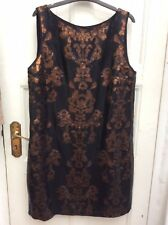 BNWT NEXT Black & Copper Sequin Embellished Occasion Shift Dress Size 16 £85