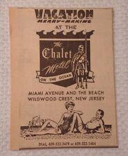1964 The Chalet Motel Wildwood Crest New Jersey Advertisement