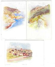 ERNEST LESSIEUX ensemble de 3 cartes Roquebrune Fréjus Cap Ferrat