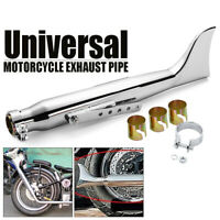 20'' Shark Fin Universal Motorcycle Exhaust Tail Pipe Fishtail Chrome