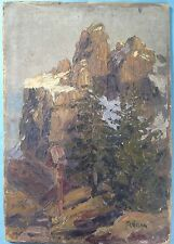 9) Ölgemälde Berg Wegkreuz Marterl Dolomiten Sella Gruppe Gröden Marg. Hamm~1925