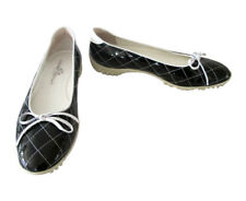 Walter Genuin Quilted Navy Patent Leather Ballet Flat Golf Shoes size 40 1/2