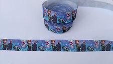 Ruban gros grain La Reine des Neiges 25 mm ,vendu au mètre , Ribbon Frozen